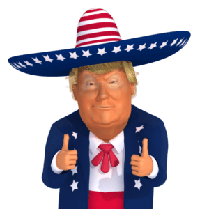 #trumpstickers Double Thumbs-Up Trump 3D Caricature