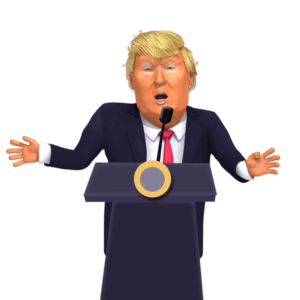 Giving a Press Conference Donald Trump 3D Caricature